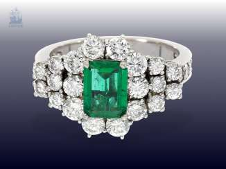 Ring: very high-quality and highly decorative vintage emerald/brilliant gold wrought ring, approx. 3,3 ct., very rare emerald quality