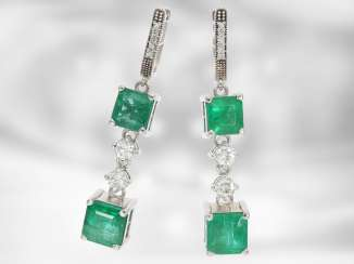 Earrings: precious vintage emerald/brilliant-ear-stud, a total of approx. 5ct