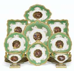 A WORCESTER (FLIGHT, BARR & BARR) PORCELAIN APPLE-GREEN GROUND PART DESSERT SERVICE