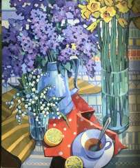 """Tea with lemon and flowers"""