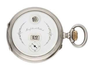 Pocket watch: rare digital pocket watch with jumping hour and jumping Minute, System Pallweber, Cortebert No. 7200, CA. 1900