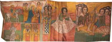 LARGE COPTIC TEXTILE WITH THE MOTHER OF GOD AND SELECTED SAINTS