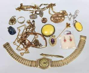 Mixed lot of gold double jewelry