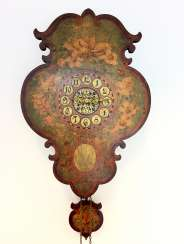 Signs-watch / images watch, neo-Baroque, wood sign, Hand painted, 19. Century, with pendulum and Weights, very good.