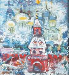 RUSSIAN MODERN Active in the 2nd half of the 20th century SNOWY MOSCOW WITH A VIEW OF THE BASIL'S CATHEDRAL Oil on canvas. 77