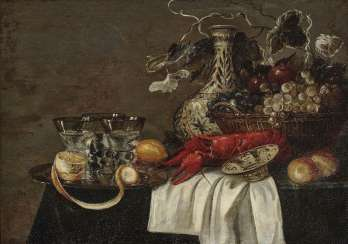 Still life with Lobster, fruit and glasses. On the left at the bottom monogrammed