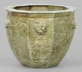 Large celadon Fishbowl with a lion's mask