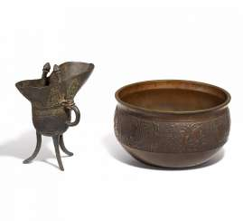 Ritual wine goblet (jue) and incense burner