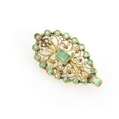 Filigree brooch with emeralds