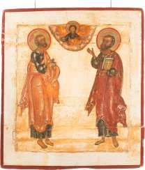 LARGE DOUBLE-SIDED ICON WITH THE APOSTLES PETER AND PAUL, AND OF THE MOTHER OF GOD OF SMOLENSK