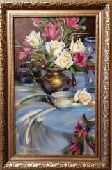 """Still life with roses and a cup"""