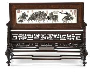 Table control screen made of hard wood with engraved and inscribed ivory plaque