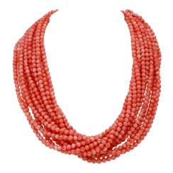 Necklace, salmon pink coral, approx 4.5 mm,