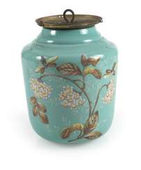 Lamp With Floral Decoration, Turquoise