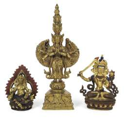 THREE BRONZES, PARTLY GOLD PLATED