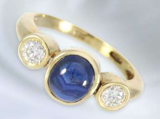 Ring: fine vintage ladies ' ring with sapphire/diamond trimming, 14K Gold