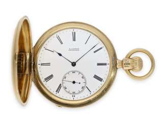 Pocket watch: very early, severe, A. Lange, Dresden gold savonnette best quality 1A, No. 7294 of 1870, with the master excerpt from the book