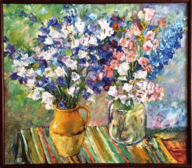 "Painting ""Flowers of July""."