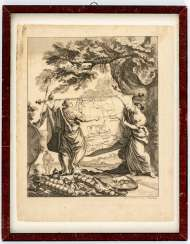 Copper engraving with a map of Russia by Christian Fritzsch, dated 1754