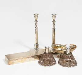 Pair of candlesticks with an umbrella, a sugar bowl, a large cigarette box