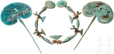 Great necklace made of bronze beads and two needles, Caucasus, Koban culture, 9th - 7. Century before Christ