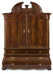 LARGE ROCOCO-TOP CHEST OF DRAWERS,