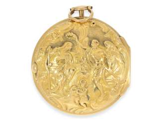 Pocket watch: early English 18K Gold repoussé technology, double-housing Spindeluhr, John Williams, London, Hallmarks 1775