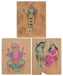THREE KALIGHAT PAINTINGS: SHIVA AND GANESHA; SHIVA AND ANNAPURNA; GANESHA