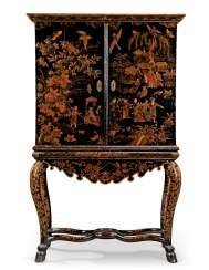 A NORTH ITALIAN BLACK AND GILT JAPANNED CABINET-ON-STAND