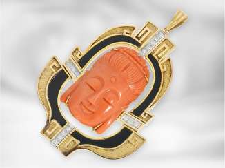 Followers: a valuable and unique goldsmiths pendant made of 14K Gold with coral and diamonds