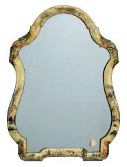 A NORTH ITALIAN POLYCHROME-DECORATED CREAM 'LACCA' DRESSING-TABLE MIRROR