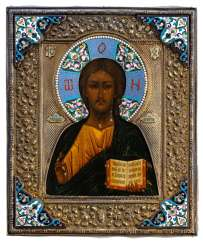 Christ Pantokrator with silver and enamel Oklad