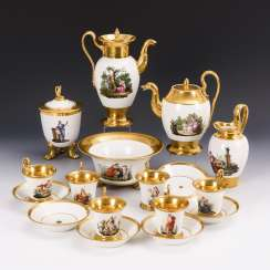 Museum-like Empire coffee service with fine figure painting