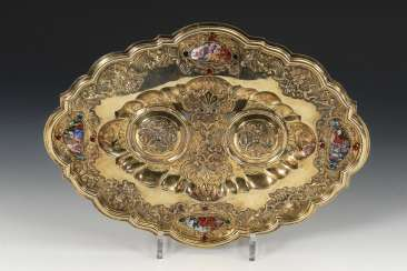Gold-plated wine tray with porcelain plaques