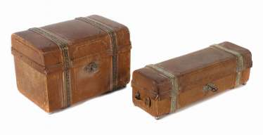 2 different leather boxes around 1900