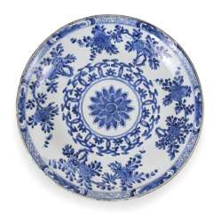 Blue-And-White Plates With Lotus