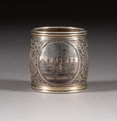 VINTAGE SIAM STERLING SILVER NAPKIN RING WITH MOSCOW CITY VIEWS