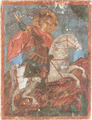 A SMALL ICON WITH THE SAINT GEORGE THE DRAGON SLAYER