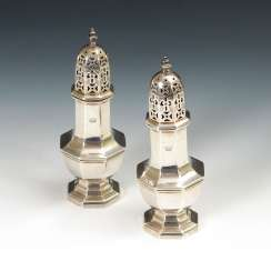 Pair of silver salt and pepper shakers with Adelskr