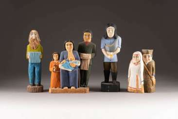 NAIVE image sculptor Active in the 20th century. Century in Poland. SET OF FOUR NAIVE WOODEN FIGURES