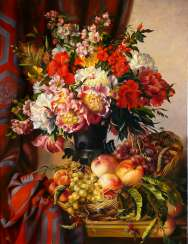 Still life with flowers peaches and grapes