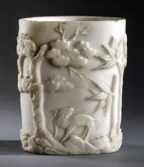 Brush Cup is made of white stone with Prunus, pine and bamboo in addition to deer