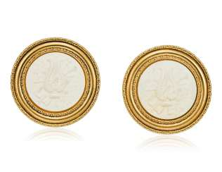 UNSIGNED CHANEL WHITE CAMEO EARRINGS