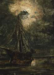 Small study with ship at full moon