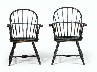 TWO PAINTED SACK-BACK WINDSOR ARMCHAIRS