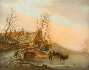 WINTER RIVER LANDSCAPE WITH STONE BRIDGE IN FRONT OF A VILLAGE