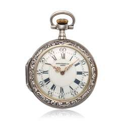 PATEK PHILIPPE, SILVER LOUIS XV STYLE POCKET WATCH 'LOVE OFFERING AN APPLE'