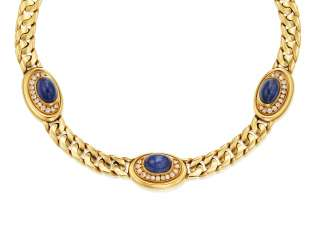BULGARI SAPPHIRE AND DIAMOND NECKLACE
