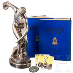 Willy Schröder (1912-90), participant of the 1936 Olympics in the discus throw - silver-plated statue, medal for participants, badge