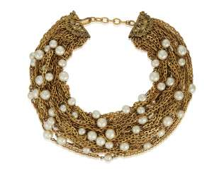 UNSIGNED CHANEL MULTI-STRAND FAUX PEARL NECKLACE